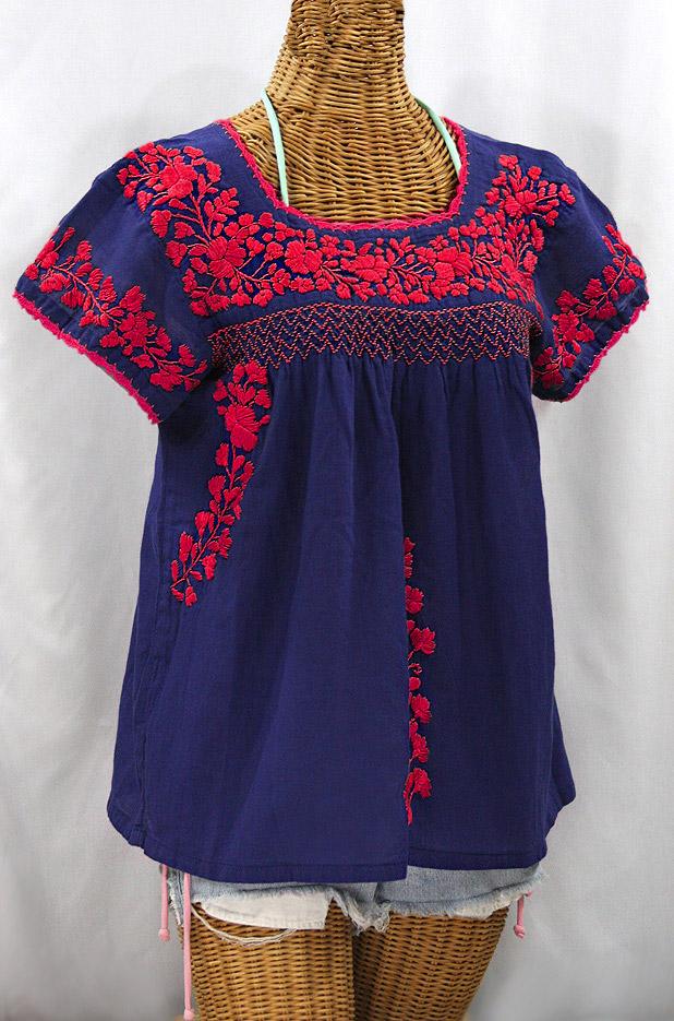 """La Marina Corta"" Embroidered Mexican Peasant Blouse - Denim Blue + Red"
