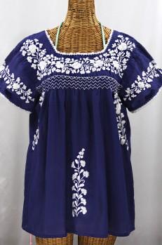 """""""La Marina Corta"""" Embroidered Mexican Peasant Blouse - Denim + White"""