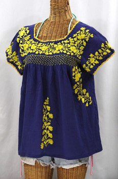 """La Marina Corta"" Embroidered Mexican Peasant Blouse - Denim + Yellow"