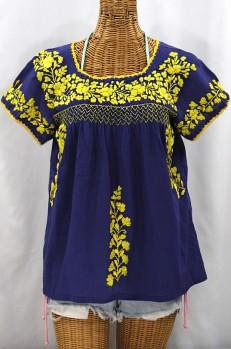 """La Marina Corta"" Embroidered Mexican Peasant Blouse - Denim + Yellow"