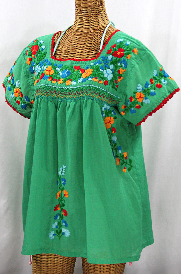 """La Marina Corta"" Embroidered Mexican Peasant Blouse - Green + Fiesta"