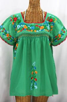 """""""La Marina Corta"""" Embroidered Mexican Peasant Blouse - Green + Fiesta"""