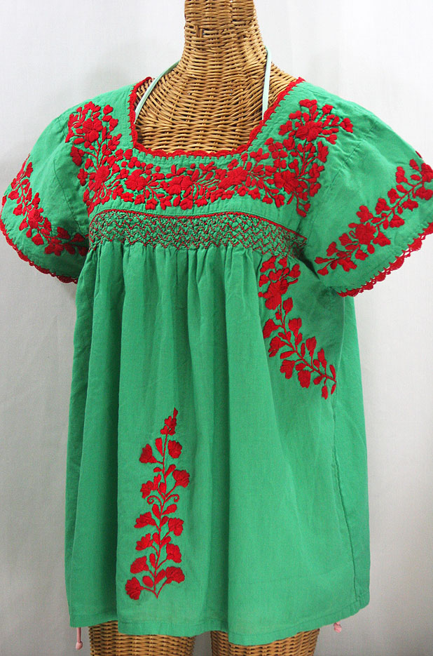 """La Marina Corta"" Embroidered Mexican Peasant Blouse - Green + Red"