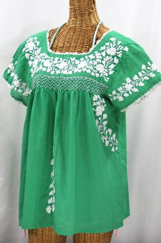 """La Marina Corta"" Embroidered Mexican Peasant Blouse - Green + White"