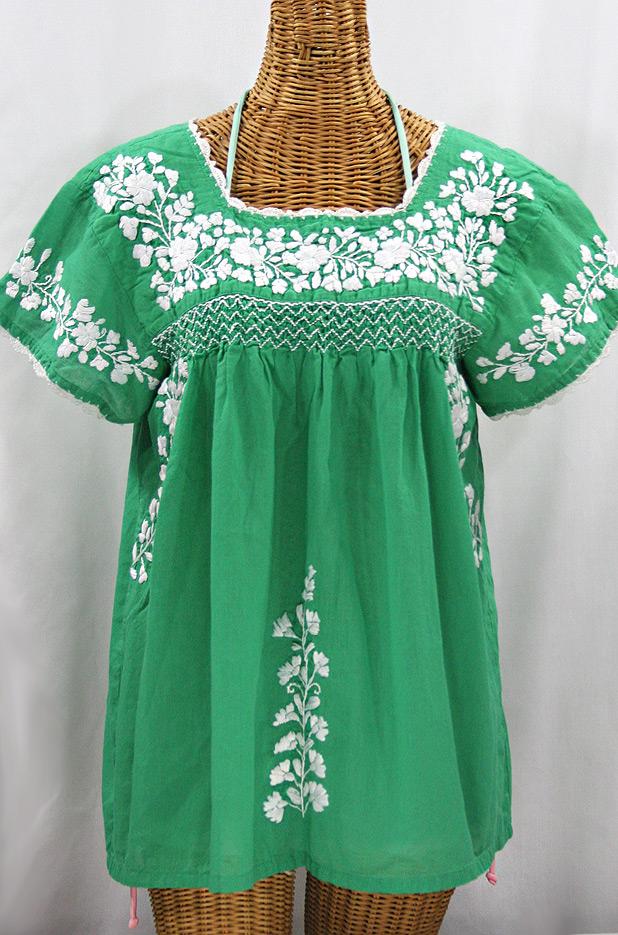 """""""La Marina Corta"""" Embroidered Mexican Peasant Blouse - Green + White"""
