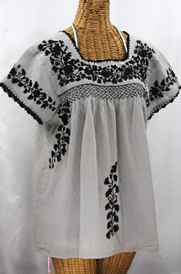 """La Marina Corta"" Embroidered Mexican Peasant Blouse - Grey + Black"