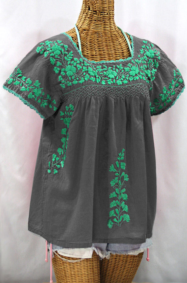 """La Marina Corta"" Embroidered Mexican Peasant Blouse - Grey + Mint"