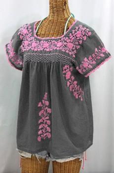 """La Marina Corta"" Embroidered Mexican Peasant Blouse - Grey + Pink"