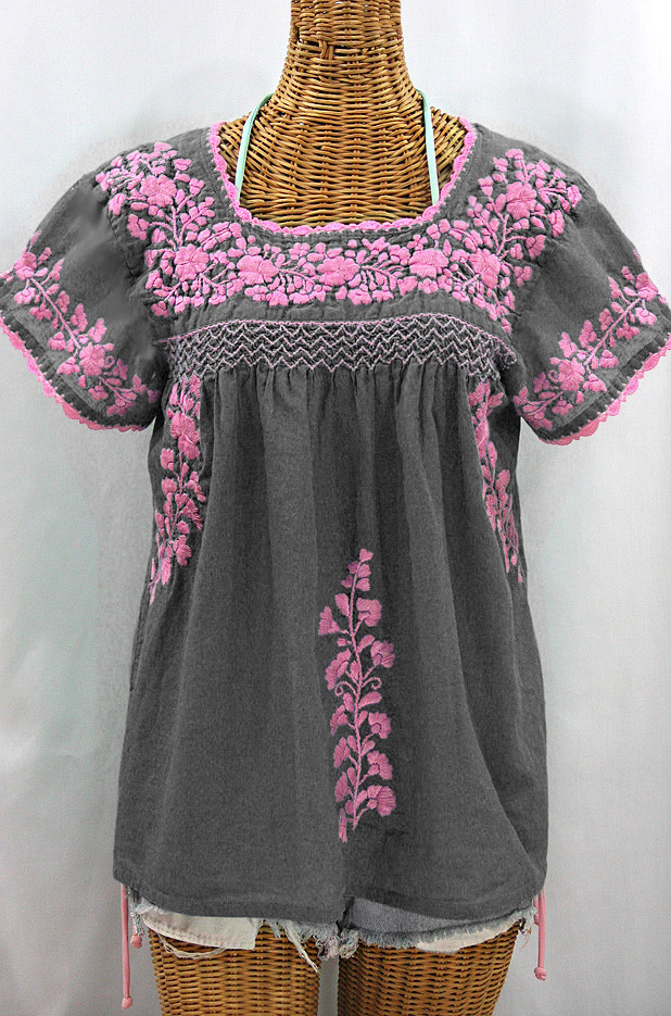 """La Marina Corta"" Embroidered Mexican Peasant Blouse - Grey + Pink"