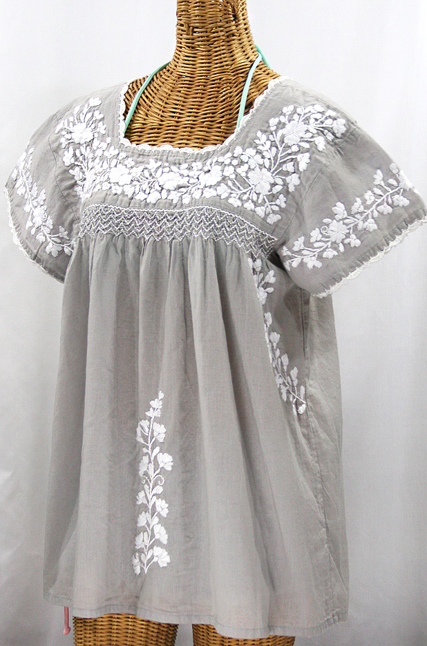 """""""La Marina Corta"""" Embroidered Mexican Peasant Blouse - Grey + White"""