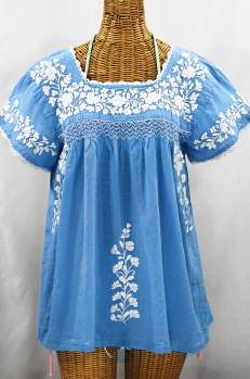 """La Marina Corta"" Embroidered Mexican Peasant Blouse - Light Blue + White"