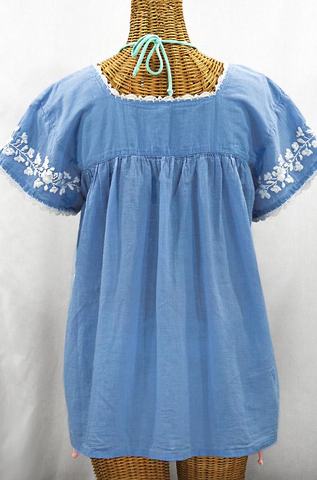 """""""La Marina Corta"""" Embroidered Mexican Peasant Blouse - Light Blue + White"""