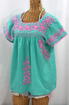"""La Marina Corta"" Embroidered Mexican Peasant Blouse - Mint + Pink"