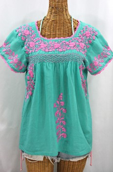"""La Marina Corta"" Embroidered Mexican Peasant Blouse - Mint + Pink"