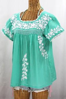 """La Marina Corta"" Embroidered Mexican Peasant Blouse - Mint Green + White"