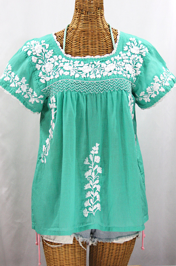 """La Marina Corta"" Embroidered Mexican Peasant Blouse - Mint Green + White"