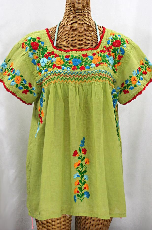"""La Marina Corta"" Embroidered Mexican Peasant Blouse - Moss Green + Fiesta"