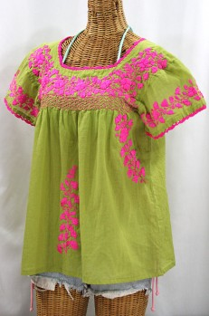 """Final Sale 40% Off -- """"La Marina Corta"""" Embroidered Mexican Peasant Blouse - Moss + Neon Pink"""