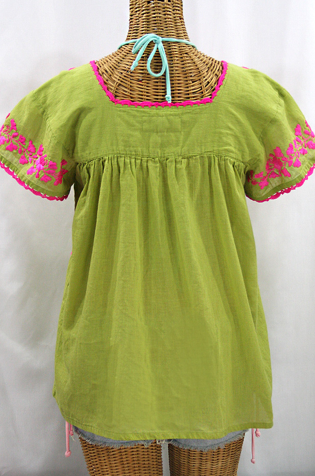 """La Marina Corta"" Embroidered Mexican Peasant Blouse - Moss + Neon Pink"