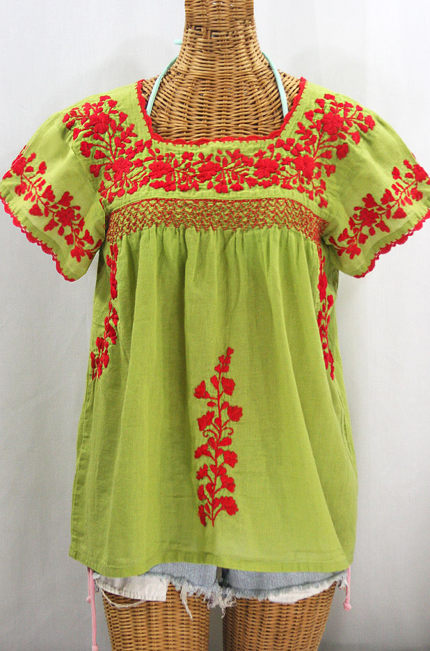"""55% Off Final Sale """"La Marina Corta"""" Embroidered Mexican Peasant Blouse - Moss + Red"""