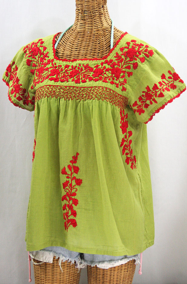 "55% Off Final Sale ""La Marina Corta"" Embroidered Mexican Peasant Blouse - Moss + Red"