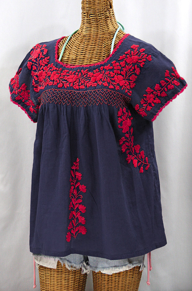 """La Marina Corta"" Embroidered Mexican Peasant Blouse - Navy + Red"