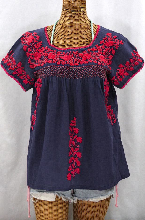 """""""La Marina Corta"""" Embroidered Mexican Peasant Blouse - Navy + Red"""