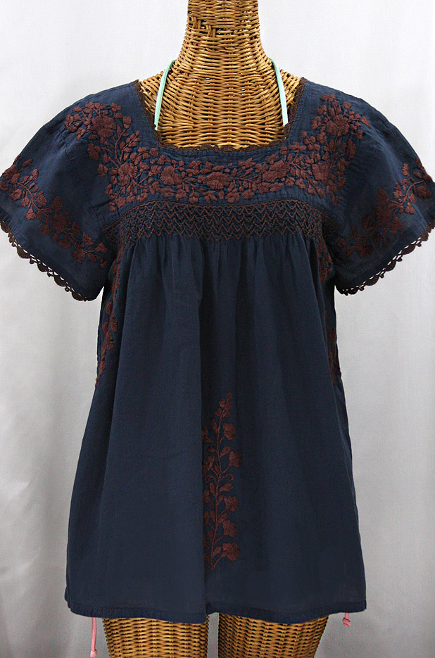 """La Marina Corta"" Embroidered Mexican Peasant Blouse - Navy + Brown"