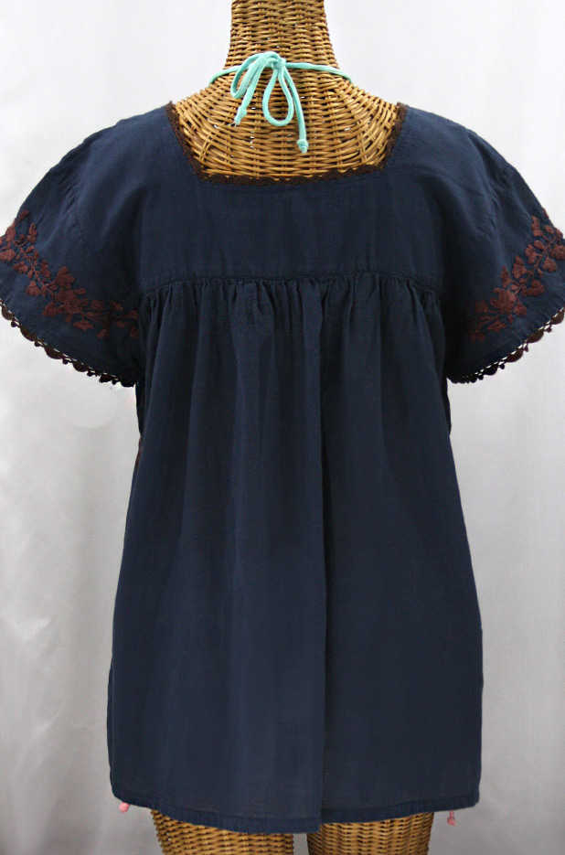 """Final Sale 40% Off -- """"La Marina Corta"""" Embroidered Mexican Peasant Blouse - Navy + Brown"""