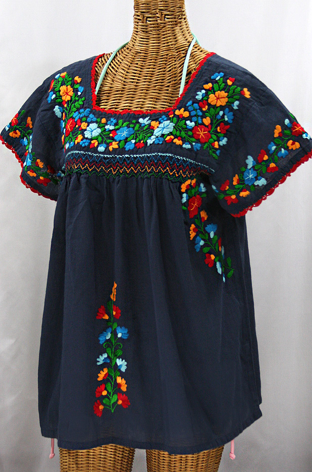 """La Marina Corta"" Embroidered Mexican Peasant Blouse - Navy + Fiesta"