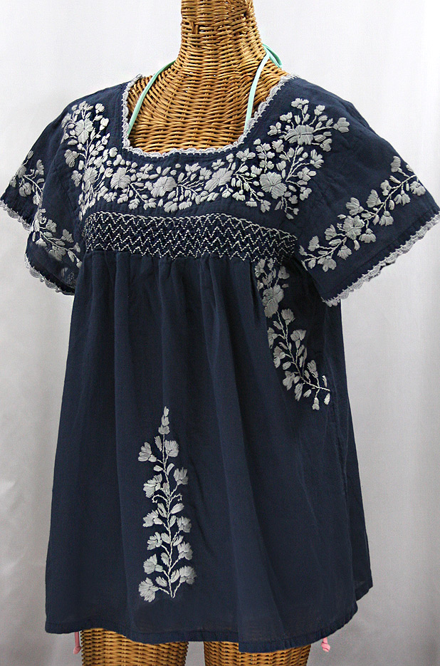 """La Marina Corta"" Embroidered Mexican Peasant Blouse - Navy + Grey"