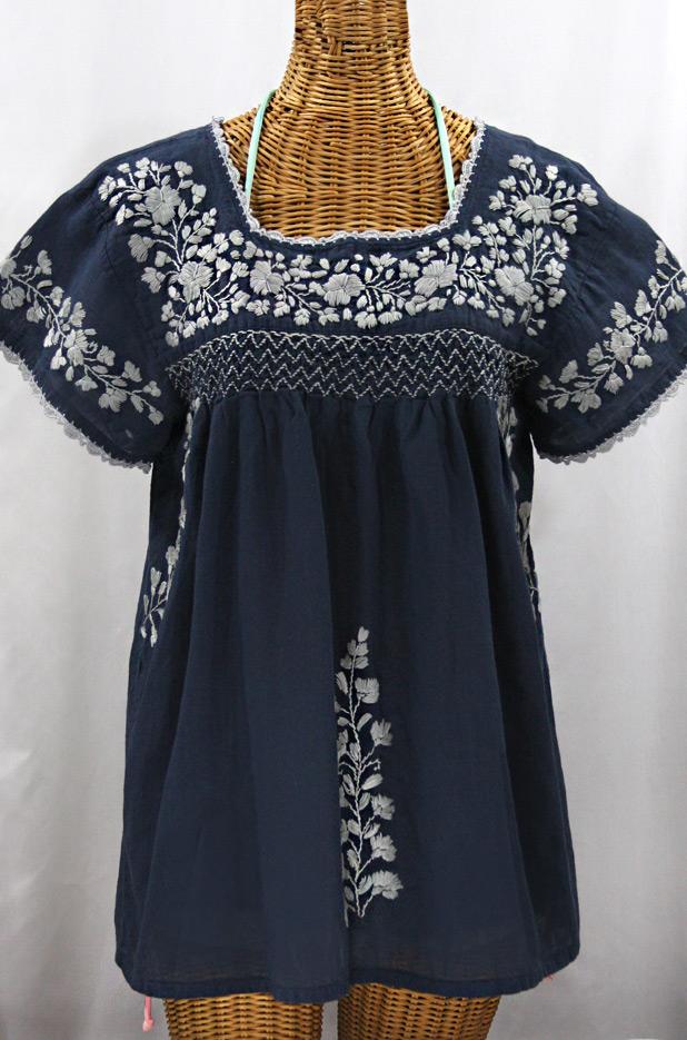 """La Marina Corta"" Embroidered Mexican Peasant Blouse - Navy + Grey"