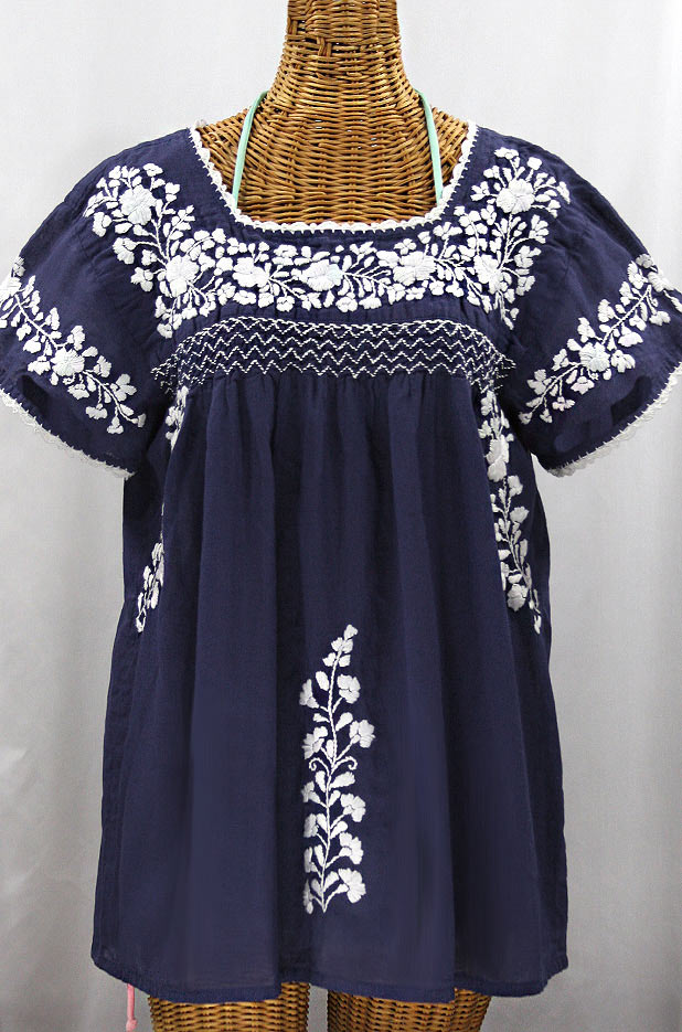 La Marina Corta Embroidered Mexican Peasant Blouse Navy White