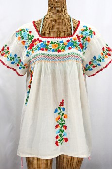 """""""La Marina Corta"""" Embroidered Mexican Peasant Blouse - Off White + Fiesta"""