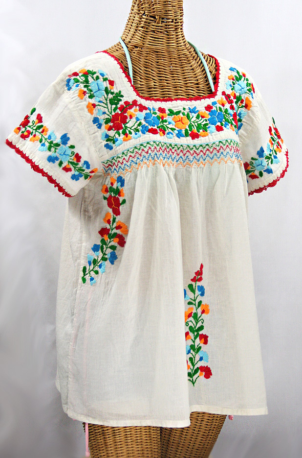 """La Marina Corta"" Embroidered Mexican Peasant Blouse - Off White + Fiesta"