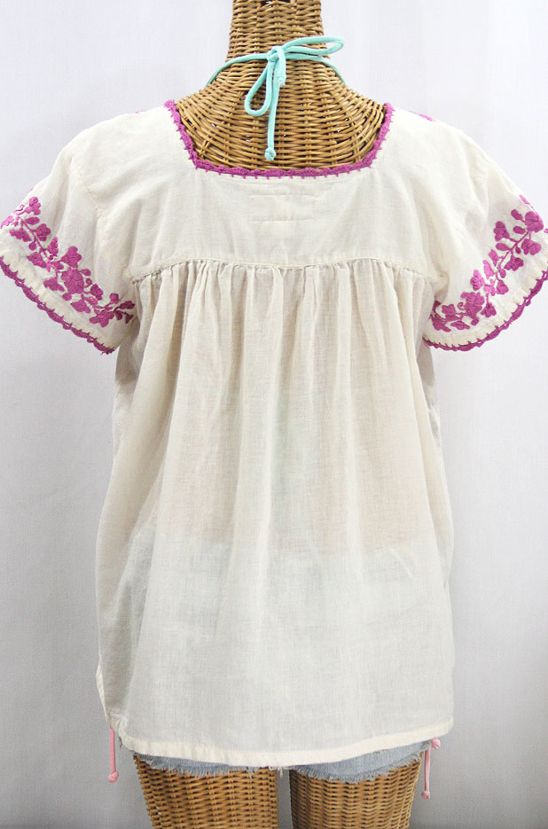 """La Marina Corta"" Embroidered Mexican Peasant Blouse - Off White + Rose Pink"