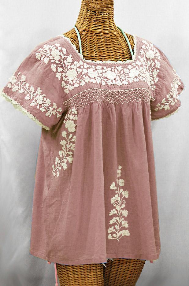 """La Marina Corta"" Embroidered Mexican Peasant Blouse - Dusty Light Pink + Cream"