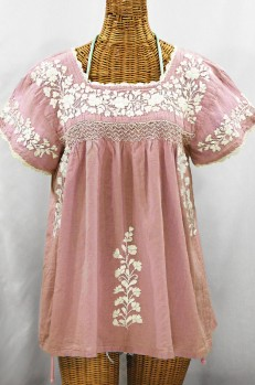 """La Marina Corta"" Embroidered Mexican Peasant Blouse - Dusty Light Pink + Cream"