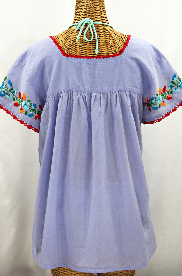 """La Marina Corta"" Embroidered Mexican Peasant Blouse - Periwinkle + Fiesta"