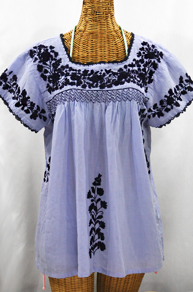 """""""La Marina Corta"""" Embroidered Mexican Peasant Blouse - Periwinkle + Navy"""