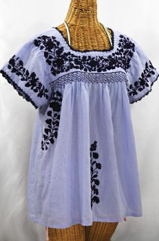 """La Marina Corta"" Embroidered Mexican Peasant Blouse - Periwinkle + Navy"