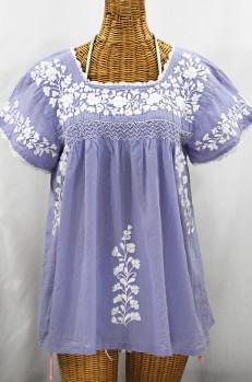 """La Marina Corta"" Embroidered Mexican Peasant Blouse - Periwinkle + White"