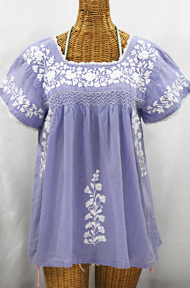 """La Marina Corta"" Embroidered Mexican Peasant Blouse - Periwinkle + White"
