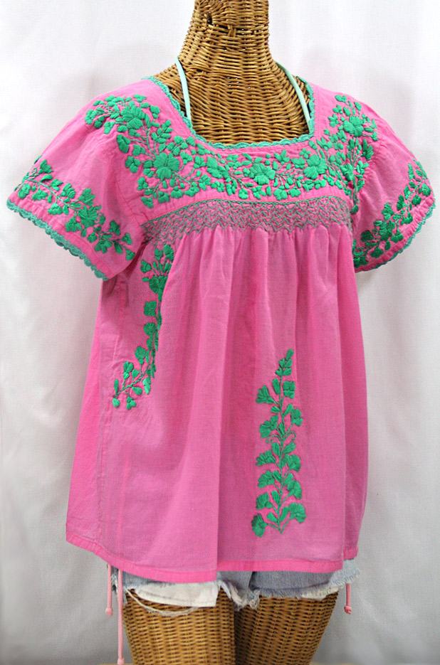 La Marina Corta Embroidered Mexican Peasant Blouse Pink Mint