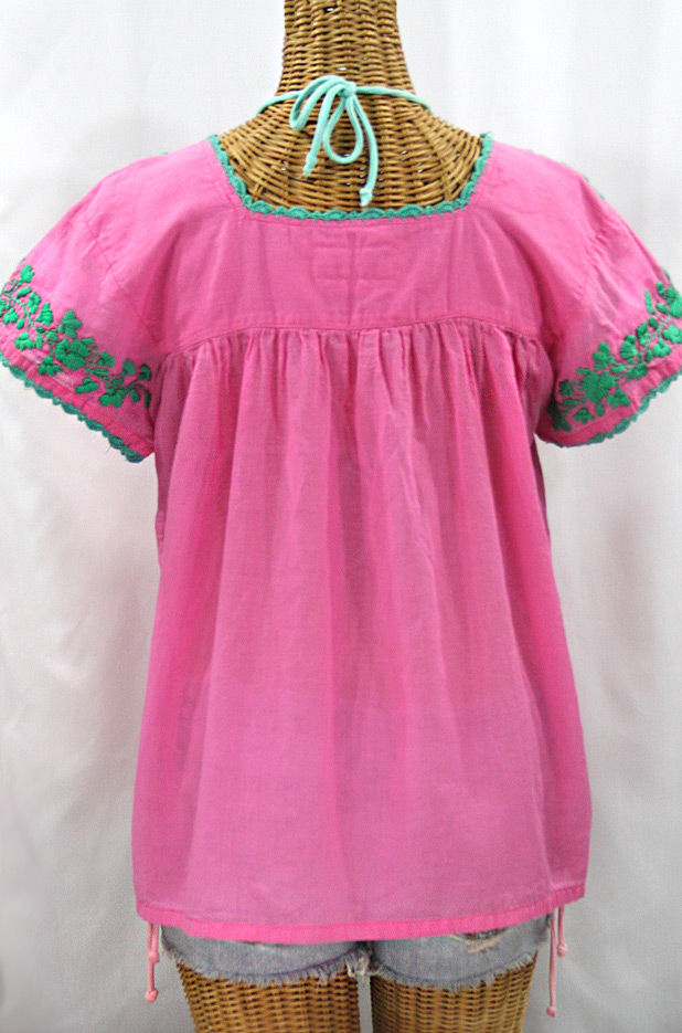 """La Marina Corta"" Embroidered Mexican Peasant Blouse - Pink + Mint"
