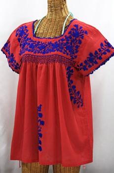 """""""La Marina Corta"""" Embroidered Mexican Peasant Blouse - Tomato Red + Blue"""