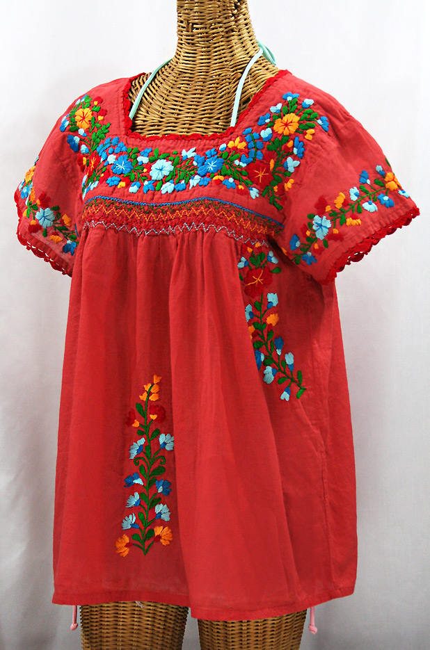 """La Marina Corta"" Embroidered Mexican Peasant Blouse - Tomato Red + Fiesta"