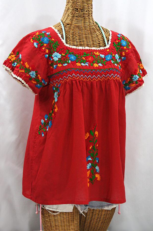 """La Marina Corta"" Embroidered Mexican Peasant Blouse - Red + Fiesta"