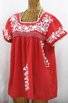 """La Marina Corta"" Embroidered Mexican Peasant Blouse - Tomato Red + White"