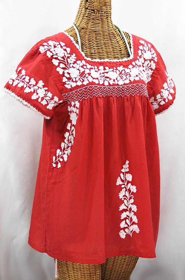 """""""La Marina Corta"""" Embroidered Mexican Peasant Blouse - Tomato Red + White"""